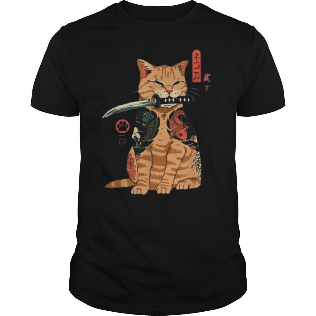 Cat Sitting with Katana Japanese Samurai Cat shirt Classic Men's