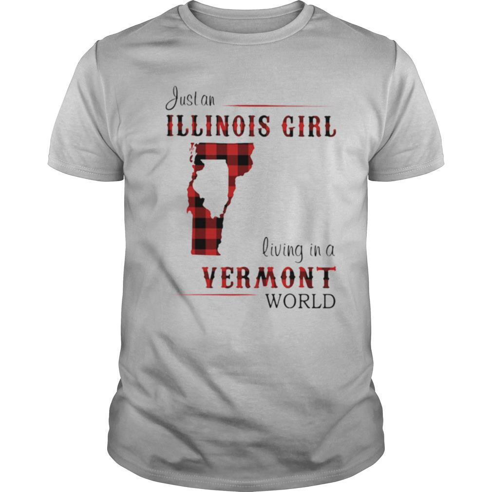 Just an ILLINOIS GIRL living in a VERMONT world Map shirt Classic Men's