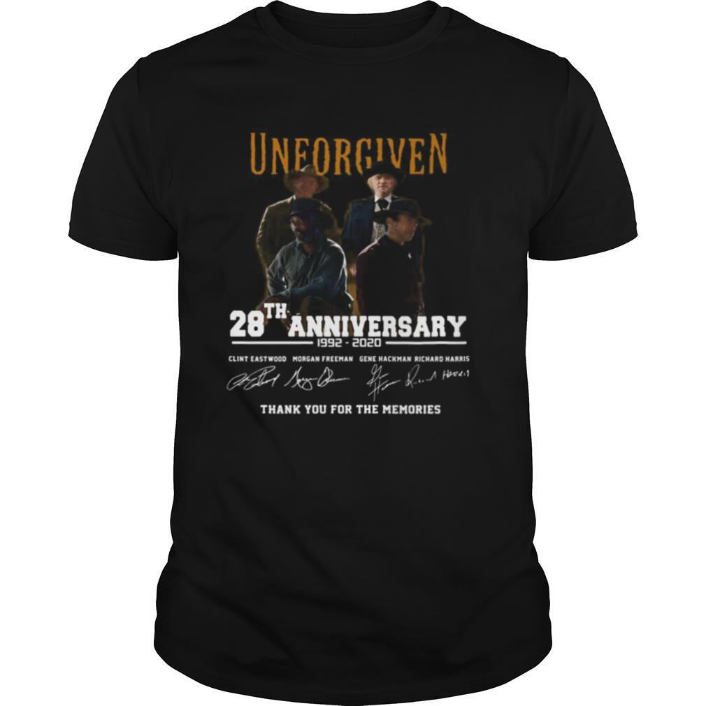 Unforgiven movie 28th anniversary 1992 2020 thank you for the memories signatures shirt Classic Men's