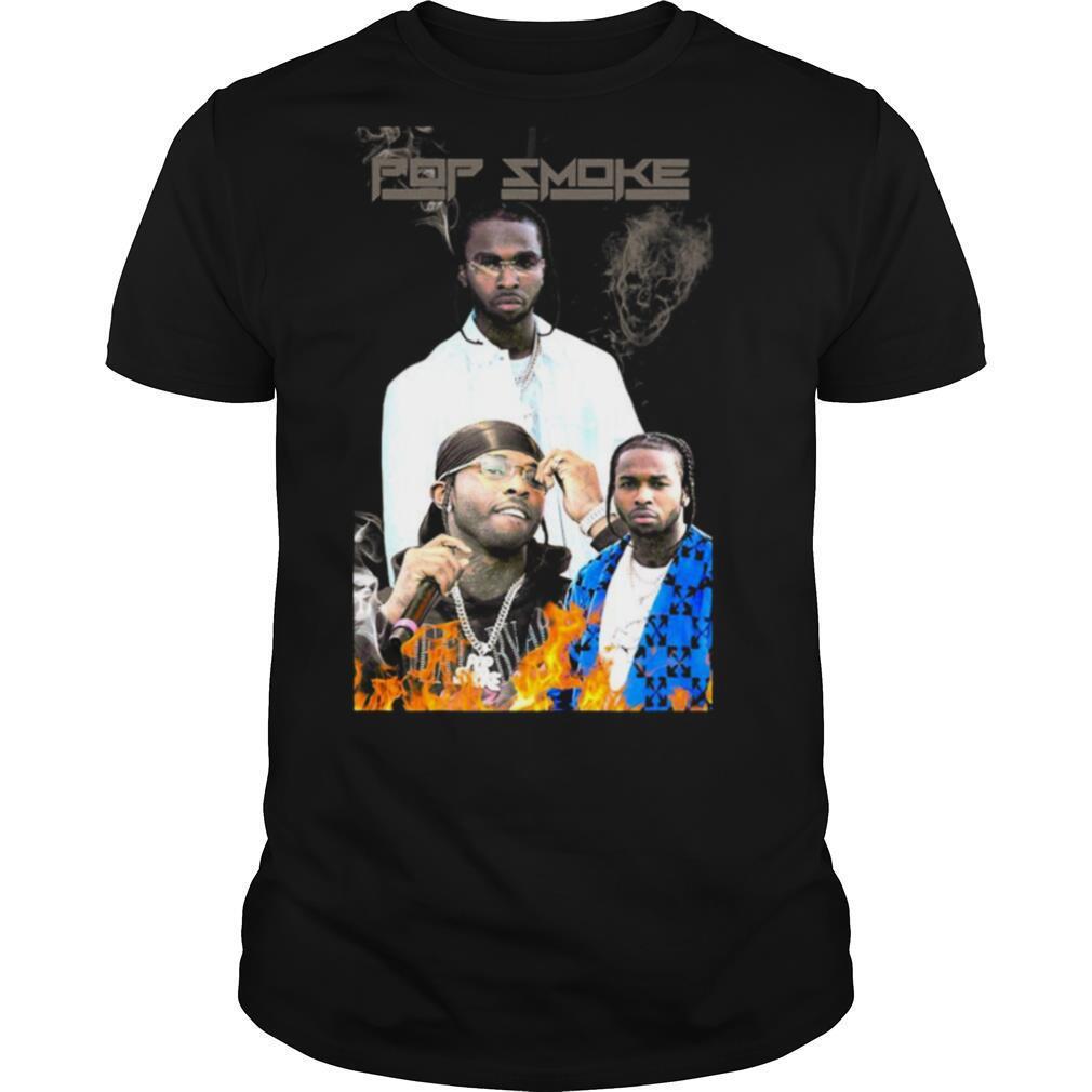 Pop smoke rapper skull fire shirt Classic Men's