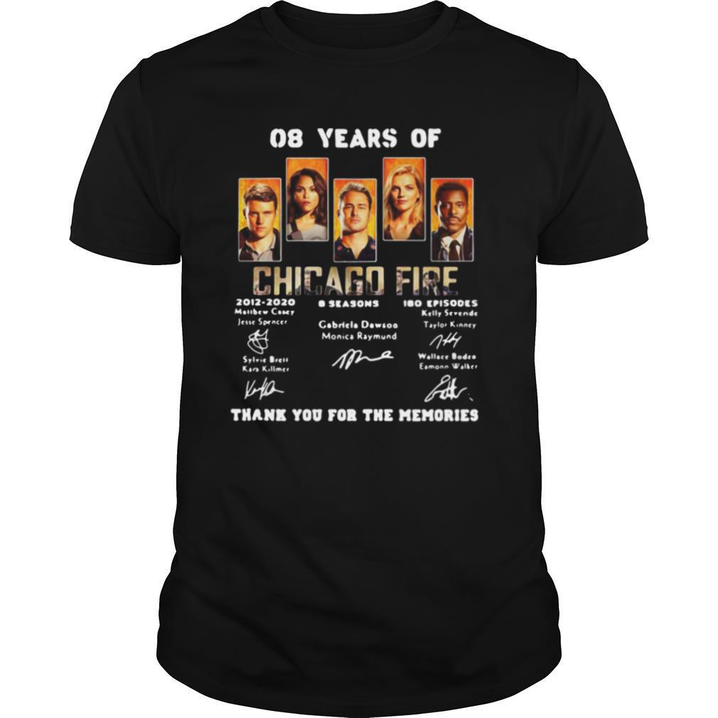 08 years of chicago fire 2012 2020 8 seasons 180 episodes thank you for the memories signatures shirt Classic Men's
