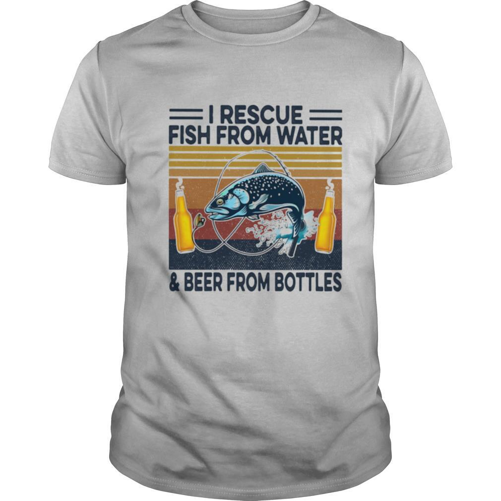 Fishing i rescue fish from water and beer from bottles vintage retro shirt Classic Men's