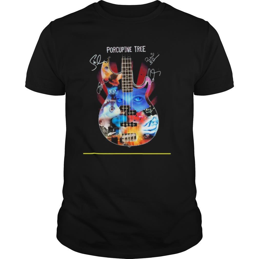 Guitar porcupine tree members signatures shirt Classic Men's
