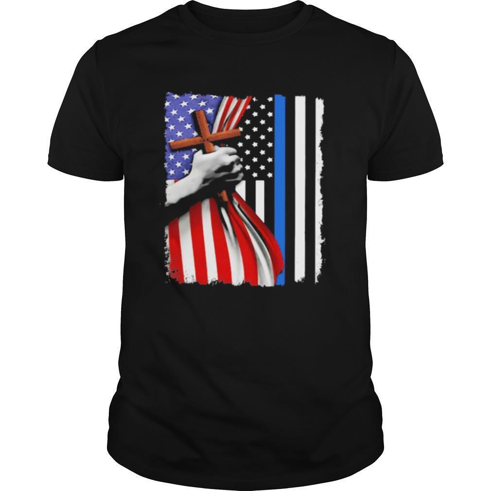 Open American flag hand cross shirt Classic Men's