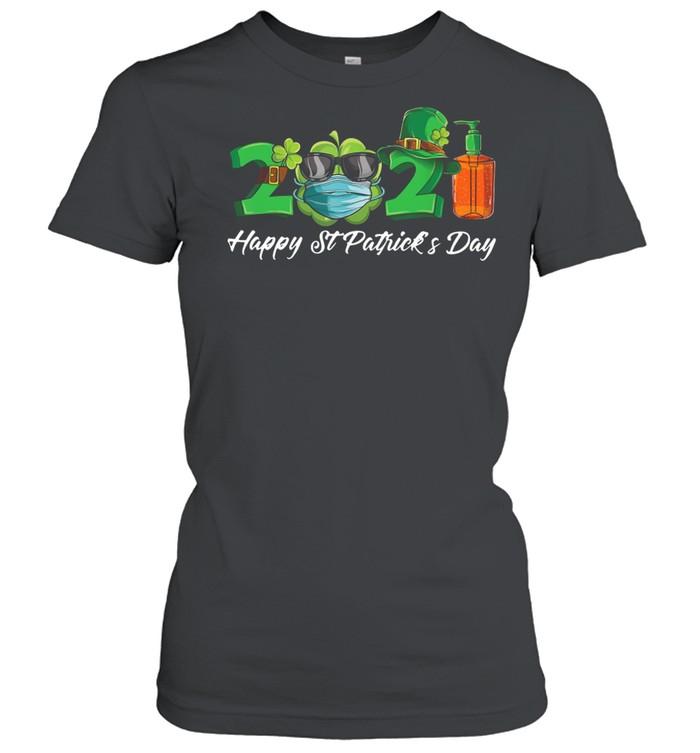 2021 Shamrock Face Mask Happy St Patrick's Day shirt Classic Women's T-shirt