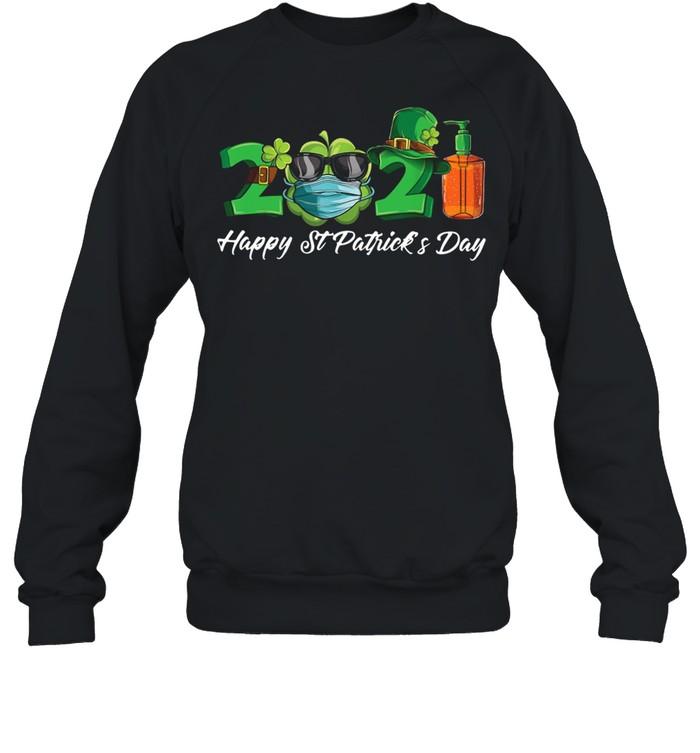 2021 Shamrock Face Mask Happy St Patrick's Day shirt Unisex Sweatshirt