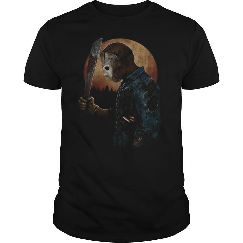 Halloween michael myers holding knife moon shirt Classic Men's