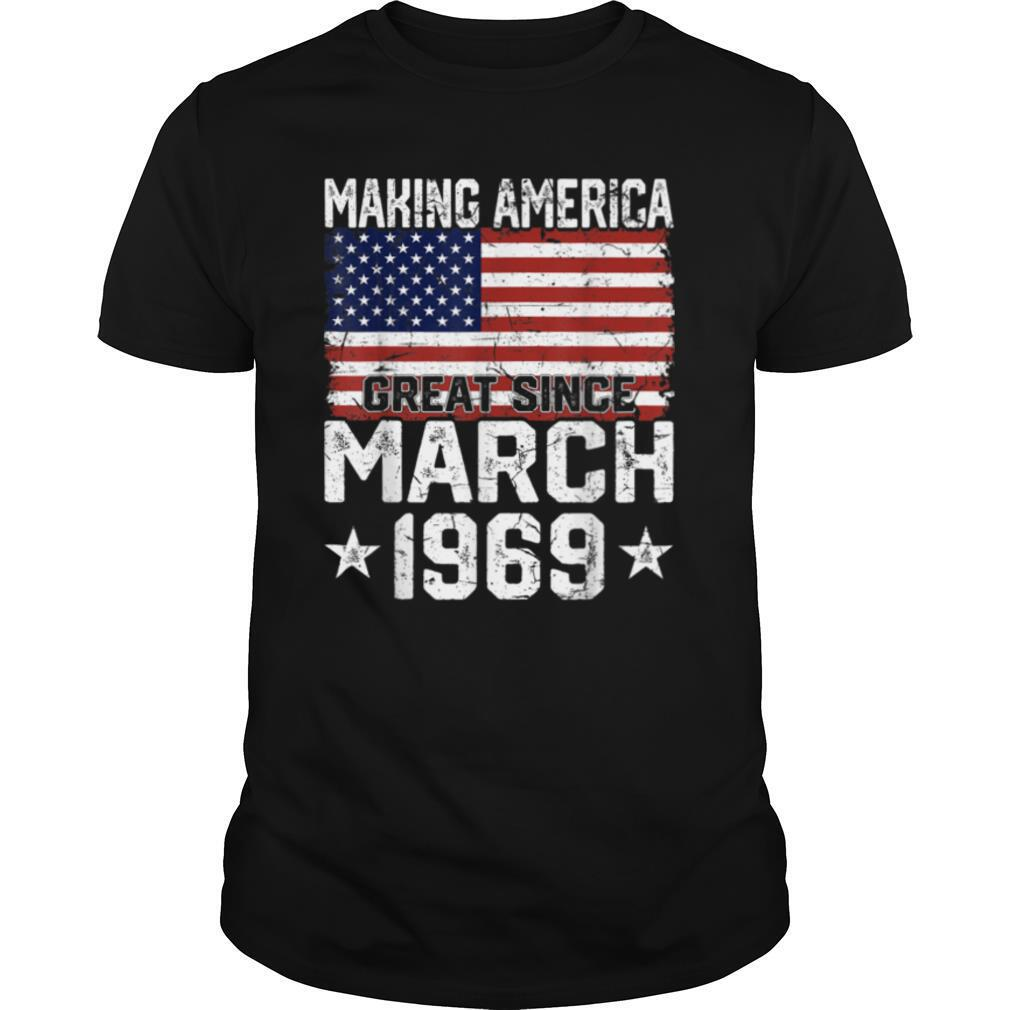 March 1969 American Flag 52nd Birthday Gifts 52 Years Old T shirt Classic Men's