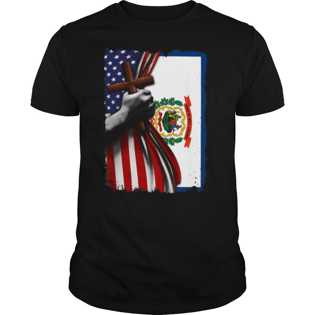 West virginia american flag cross happy independence day shirt Classic Men's