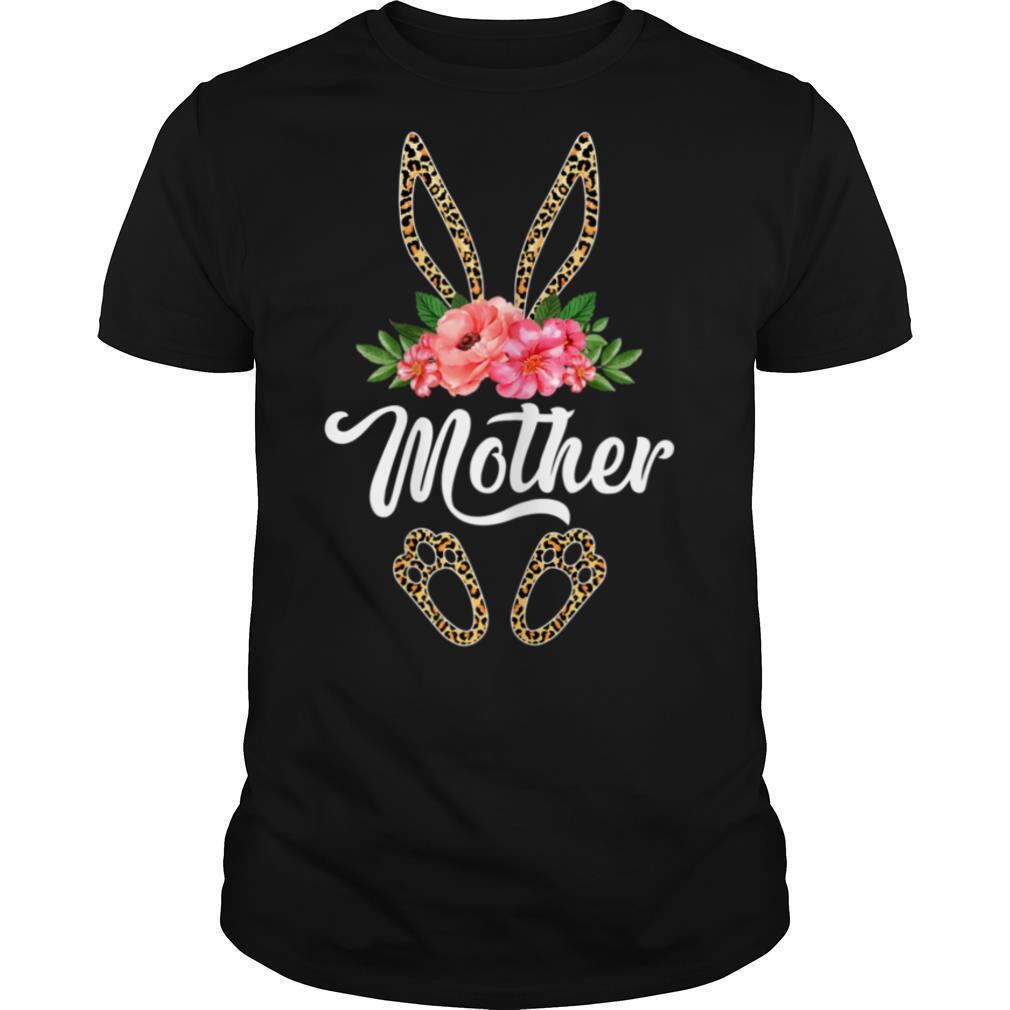 Womens Cute Mother Bunny Leopard Flowers Easter Gifts T shirt Classic Men's