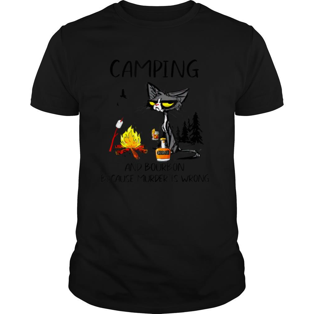 Black Cat Camping And Bourbon Because Murder Is Wrong T shirt Classic Men's