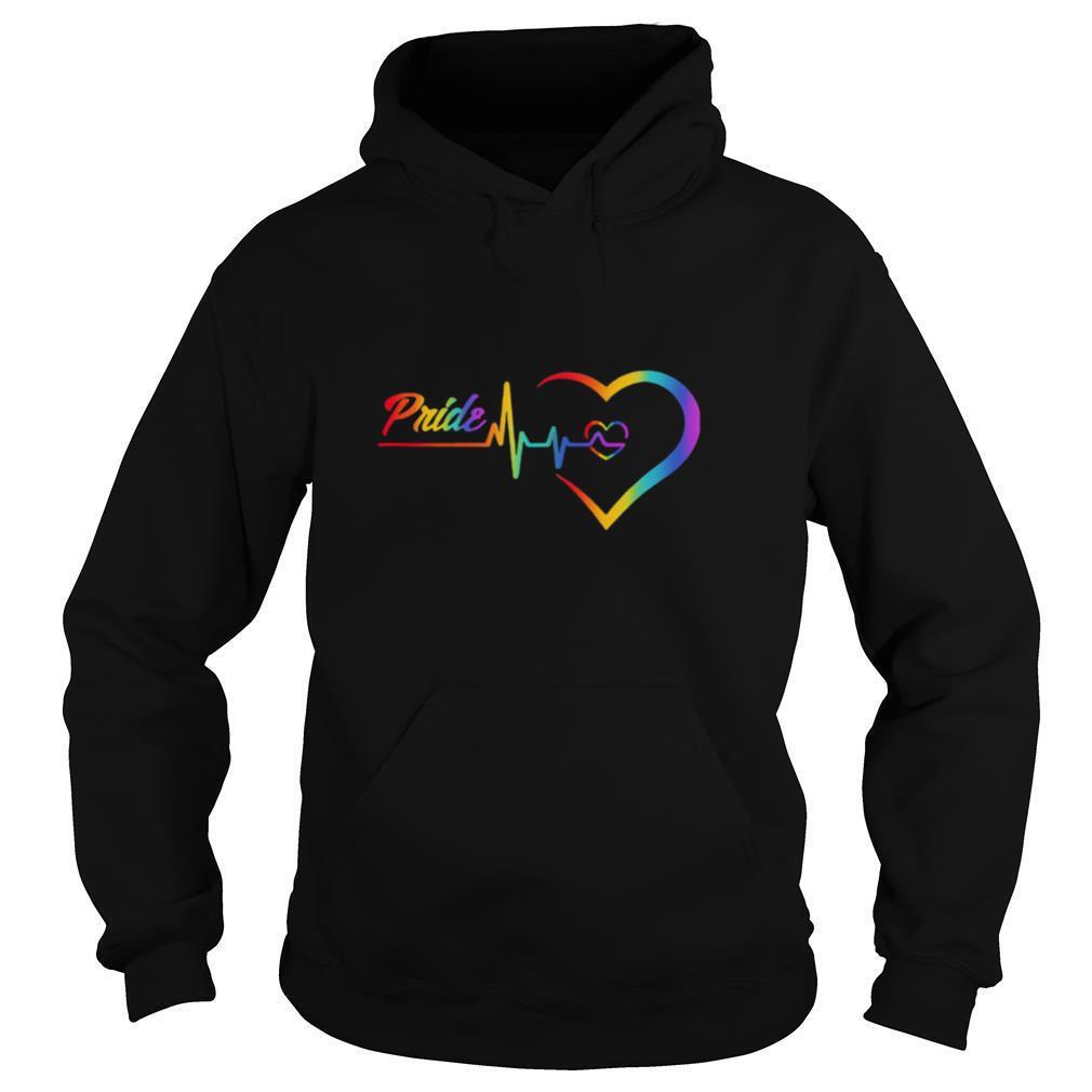 rainbow heartbeat pride love lgbt shirt