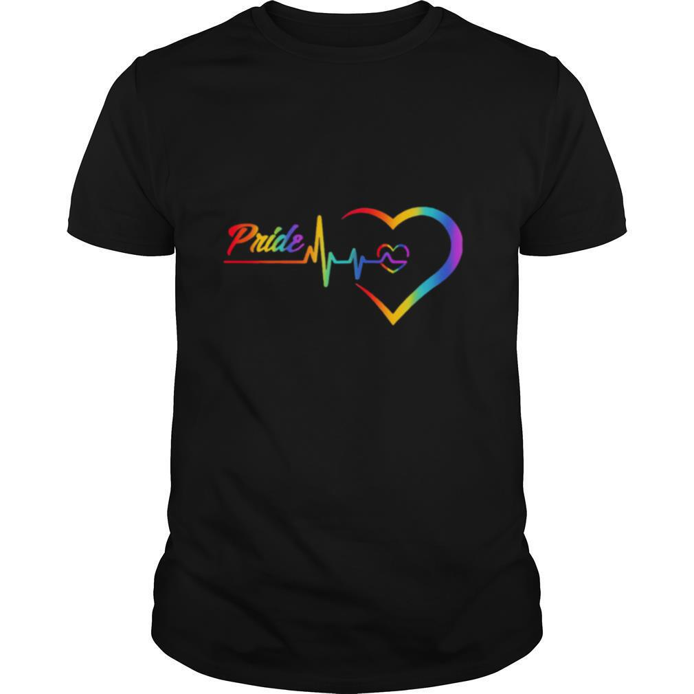 Rainbow Heartbeat Pride Love LGBT shirt Classic Men's