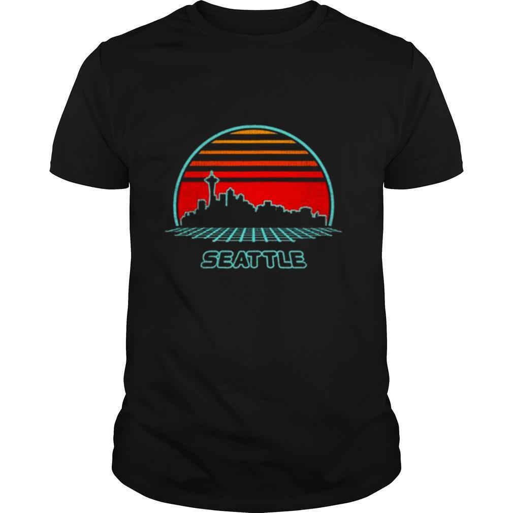 Seattle City Skyline Retro 80S Style Souvenir Vintage shirt Classic Men's