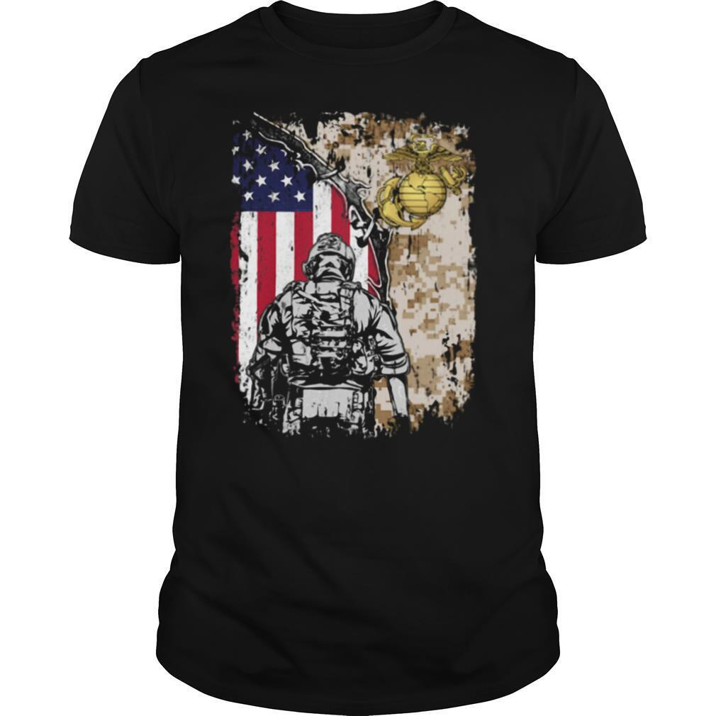 United State Marine Corps American flag veteran Independence day shirt Classic Men's