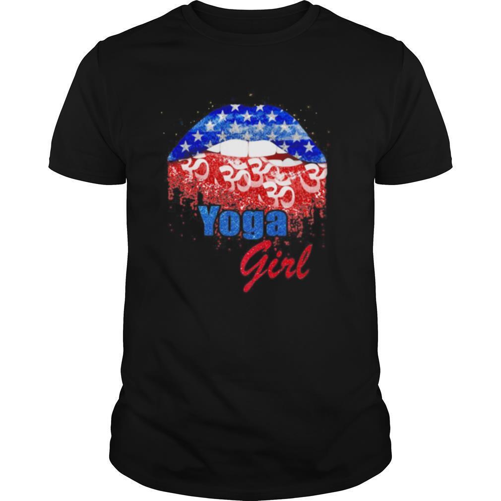 Yoga girl lip American flag veteran Independence day shirt Classic Men's