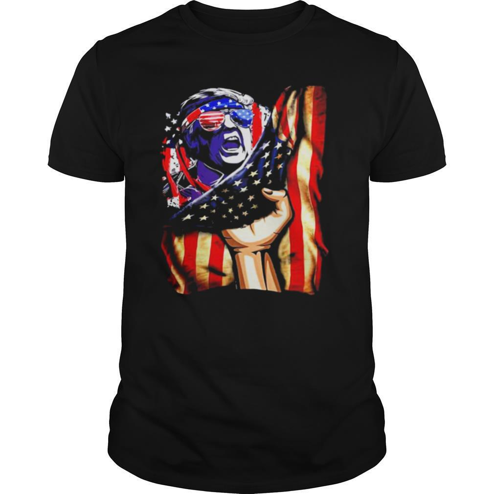 Independence Day Trump glasses flag america shirt Classic Men's
