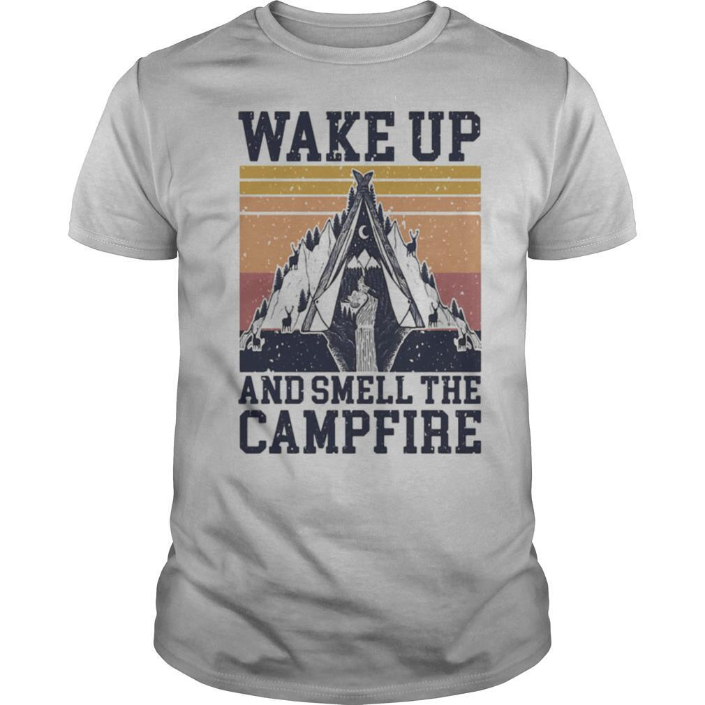 Retro Navy Wake Up And Smell The Campfire Vintage shirt Classic Men's