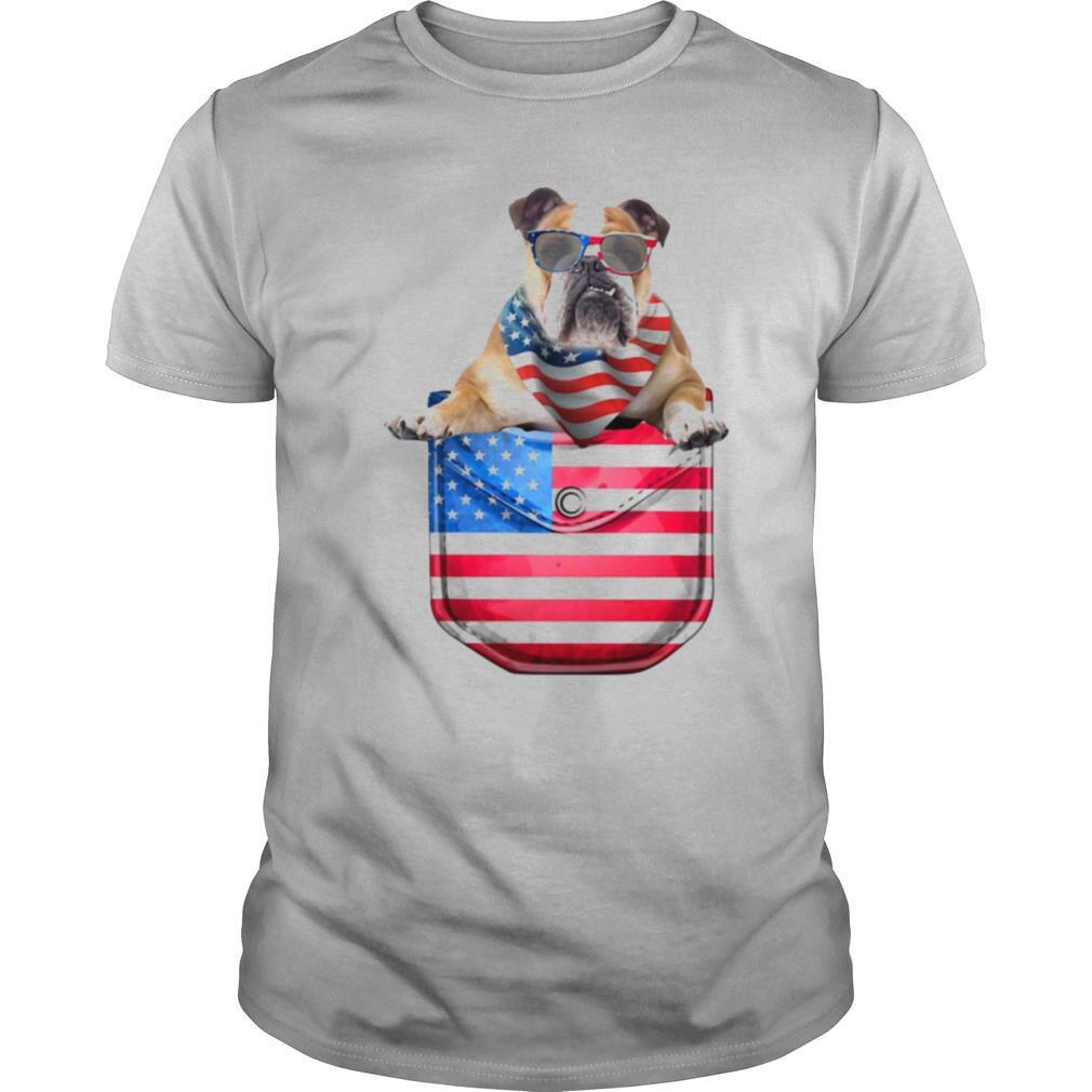 Bulldog pocket american flag independence day shirt Classic Men's