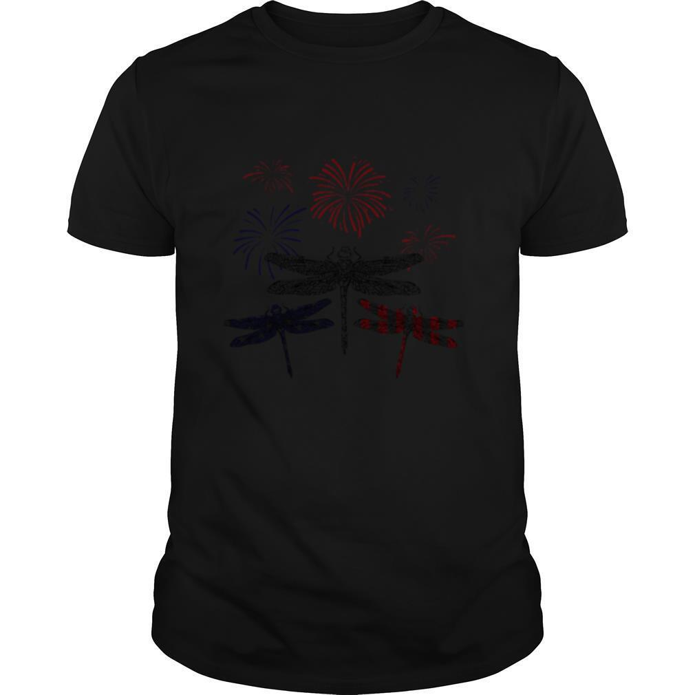 Dragonfly Firework American Flag Independence Day shirt Classic Men's