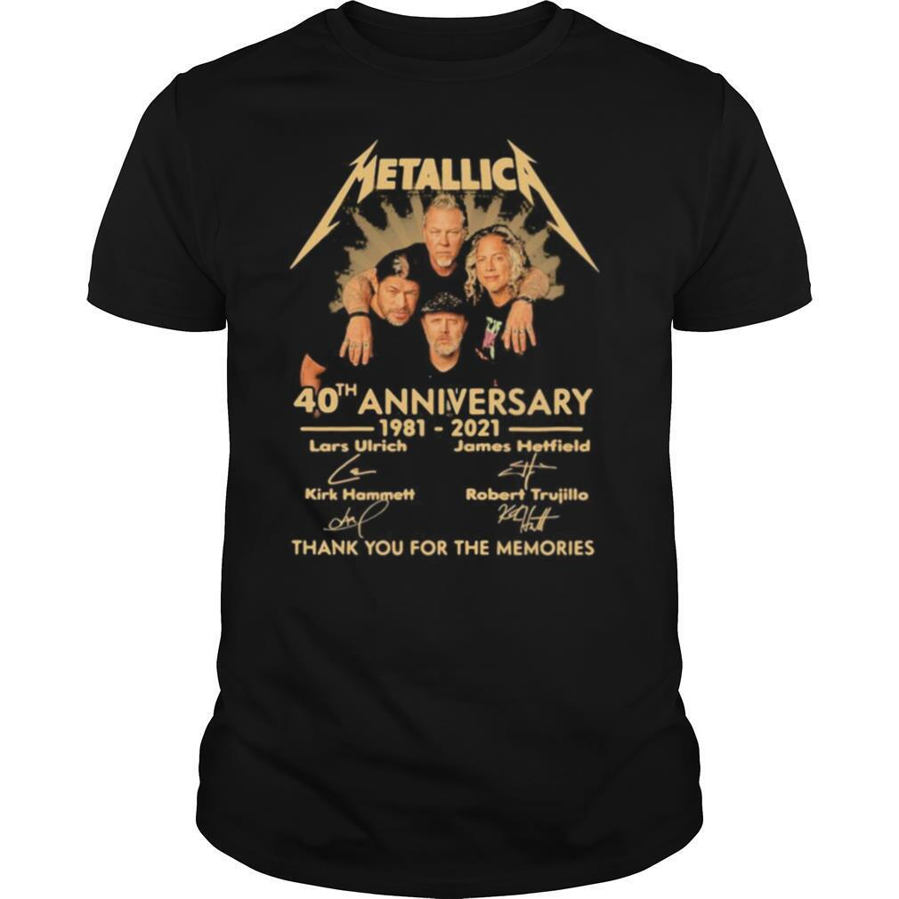 Metallica 40th anniversary 1980 2020 thank you for the memories signatures shirt Classic Men's