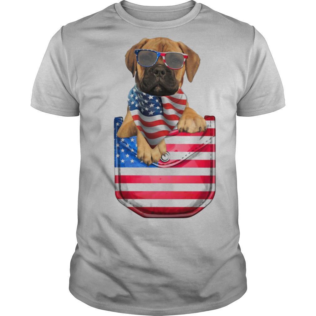 Bullmastiff pocket american flag independence day shirt Classic Men's