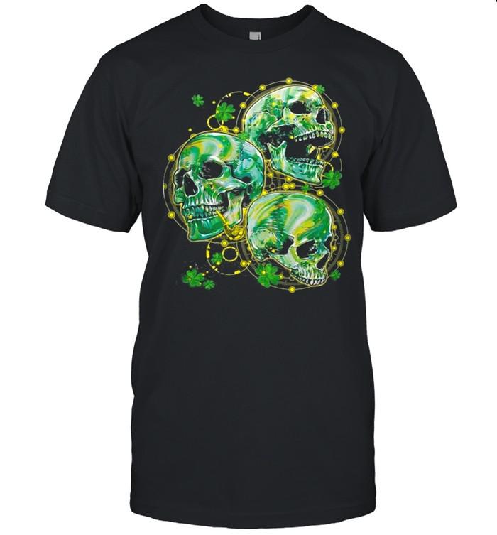 Green Shamrocks Skull With Smoking Pipe Yellow Dots Circle shirt Classic Men's T-shirt