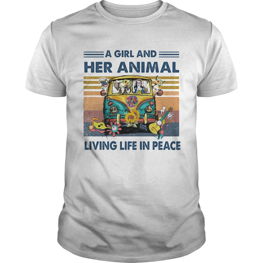 Hippie bus a girl and her animal living life in peace vintage retro shirt Classic Men's