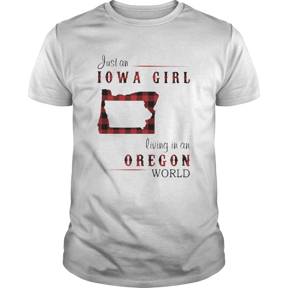Just an iowa girl living in an oregon world map shirt Classic Men's
