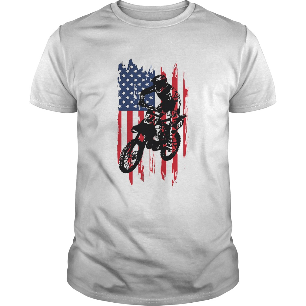 Motocross american flag independence day shirt Classic Men's