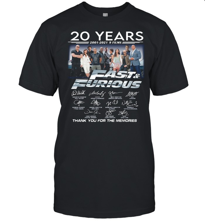 20 Years Of Fast And Furious 2001 2021 9 Films Thank You For The Memories Signatures shirt Classic Men's T-shirt