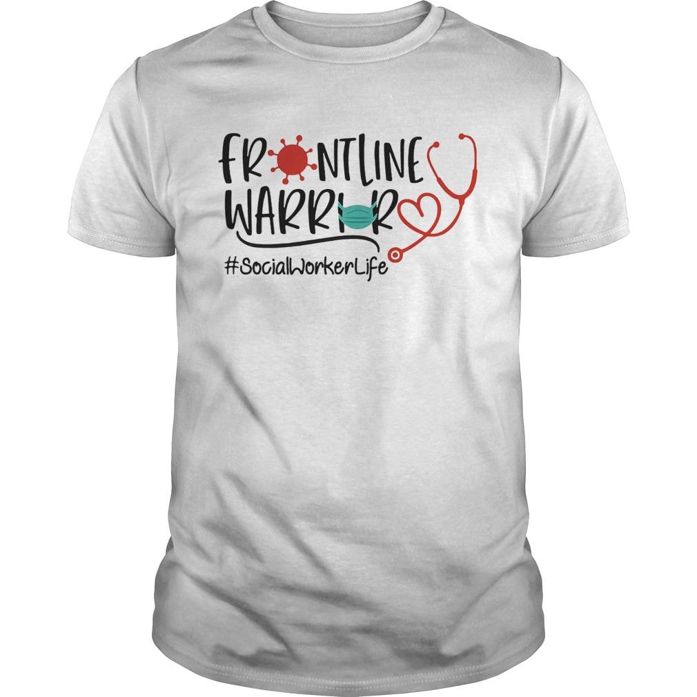 Stethoscope heart frontline warrior mask socialworkerlife virus corona shirt Classic Men's