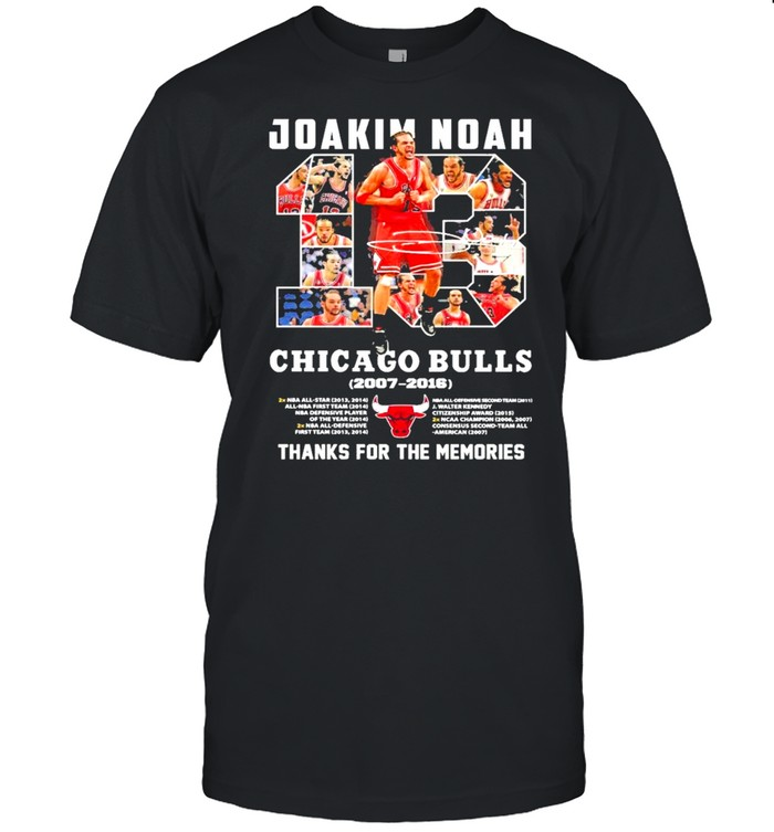 13 Joakim Noah Chicago Bulls 2007 2016 Thank You For The Memories Signature  Classic Men's T-shirt