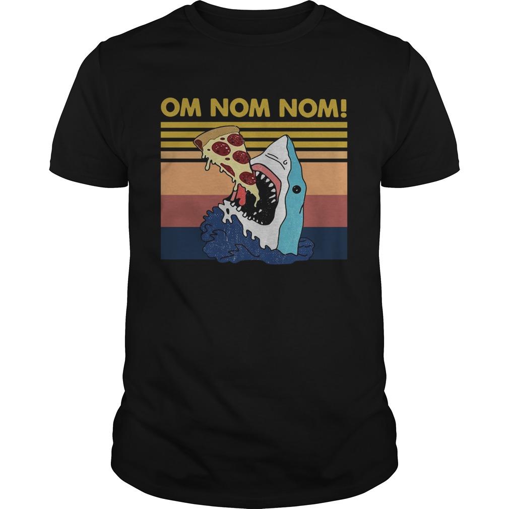 Vintage Shark Eat Pizza Om Nom Nom shirt Classic Men's