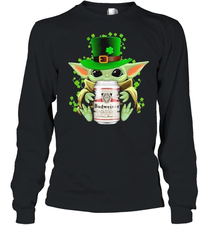 Baby Yoda Hug Budweiser Irish Patricks Day Long Sleeved T-shirt