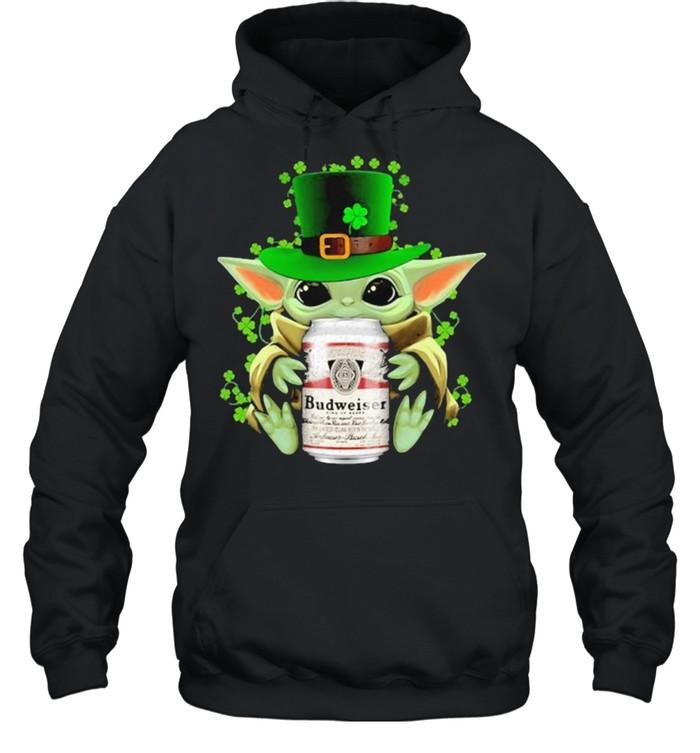 Baby Yoda Hug Budweiser Irish Patricks Day Unisex Hoodie