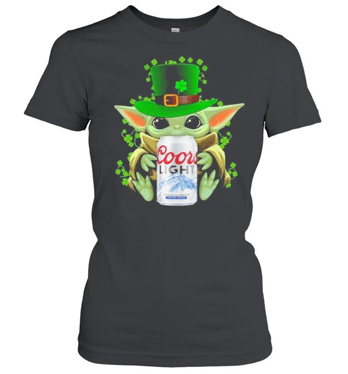 Baby Yoda Hug Coor Light Irish Patricks Day Classic Women's T-shirt
