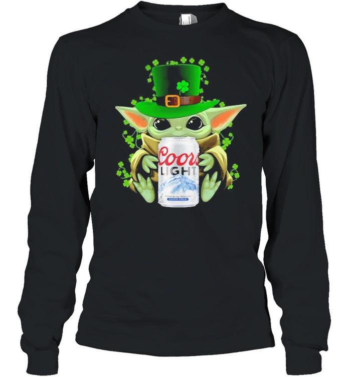 Baby Yoda Hug Coor Light Irish Patricks Day Long Sleeved T-shirt