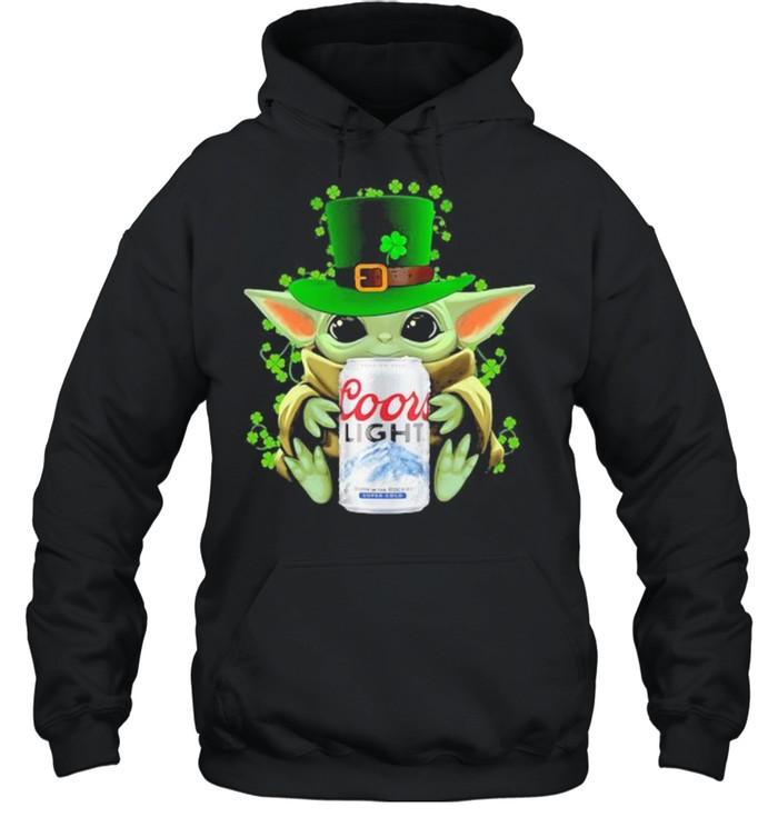Baby Yoda Hug Coor Light Irish Patricks Day Unisex Hoodie
