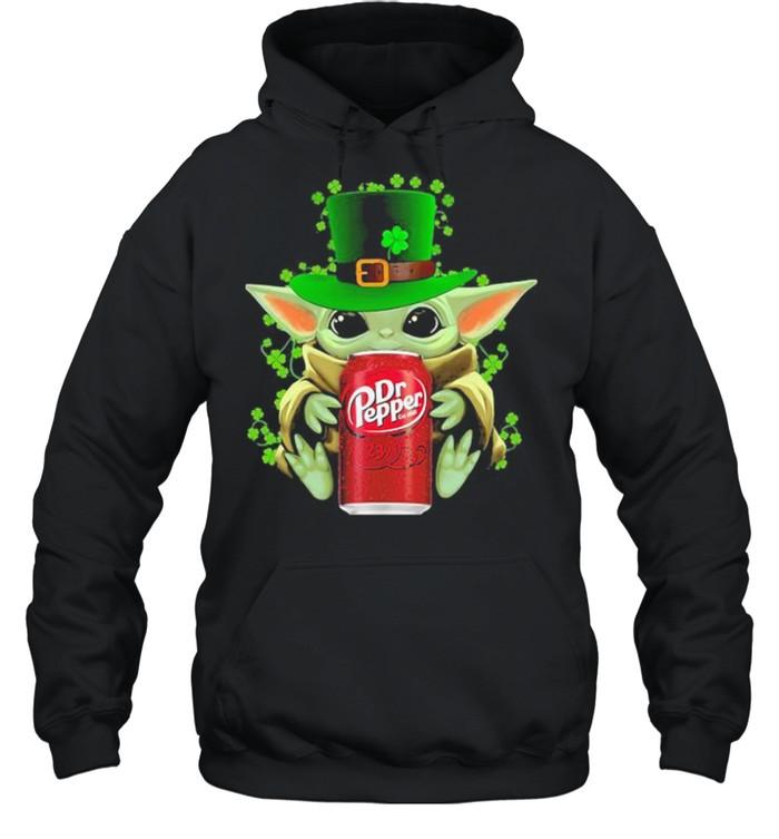 Baby Yoda Hug Dr Pepper Irish Patricks Day Unisex Hoodie