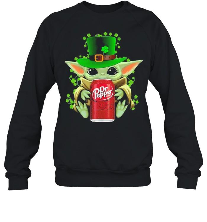 Baby Yoda Hug Dr Pepper Irish Patricks Day Unisex Sweatshirt
