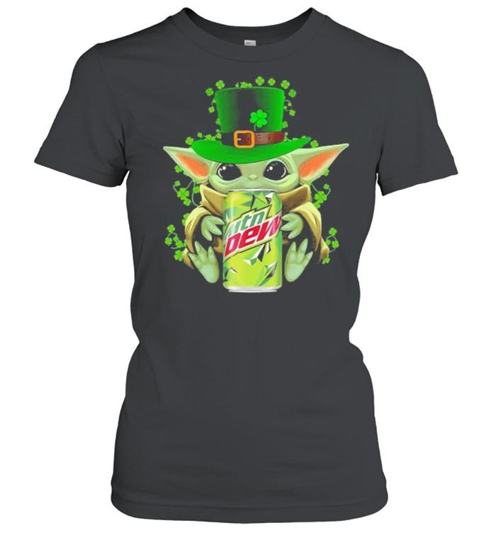Baby Yoda Hug Mtn Dew Irish Patricks Day Classic Women's T-shirt