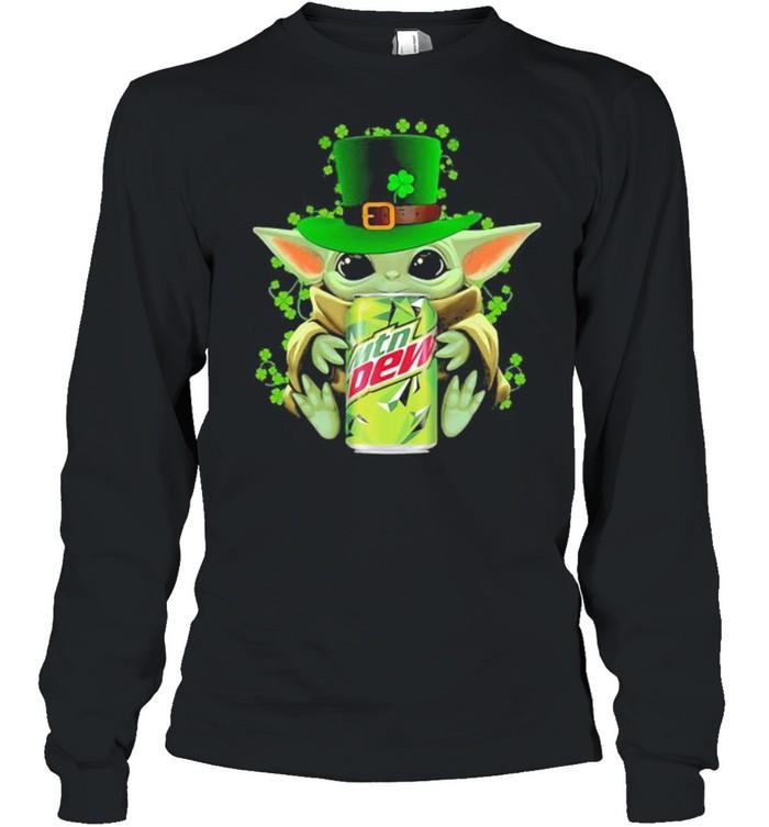 Baby Yoda Hug Mtn Dew Irish Patricks Day Long Sleeved T-shirt