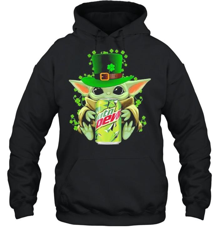 Baby Yoda Hug Mtn Dew Irish Patricks Day Unisex Hoodie