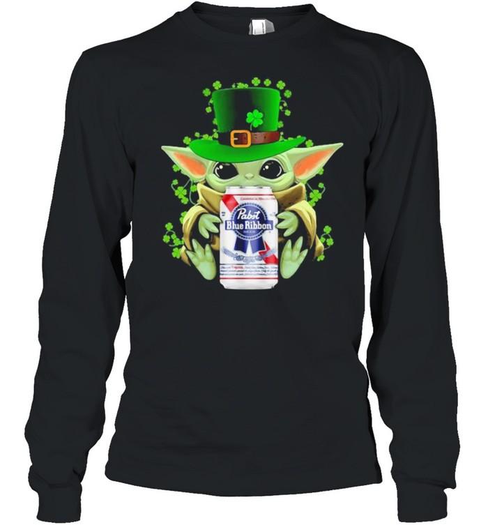Baby Yoda Hug Pabst Blue Ribbon Irish Patricks Day Long Sleeved T-shirt