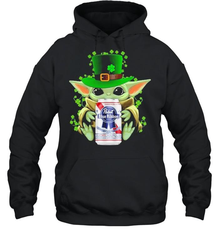 Baby Yoda Hug Pabst Blue Ribbon Irish Patricks Day Unisex Hoodie
