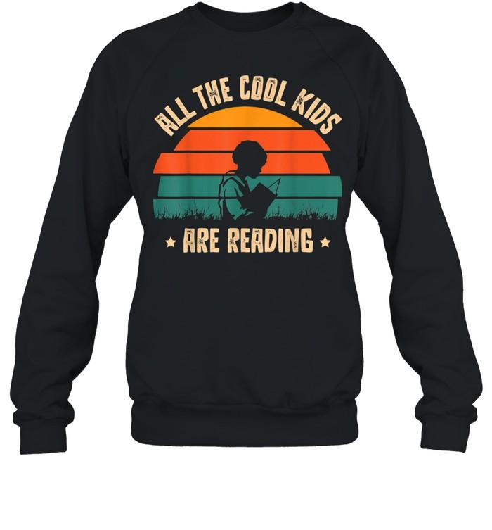 All the Cool are Reading Book Vintage Reto Sunset shirt Unisex Sweatshirt