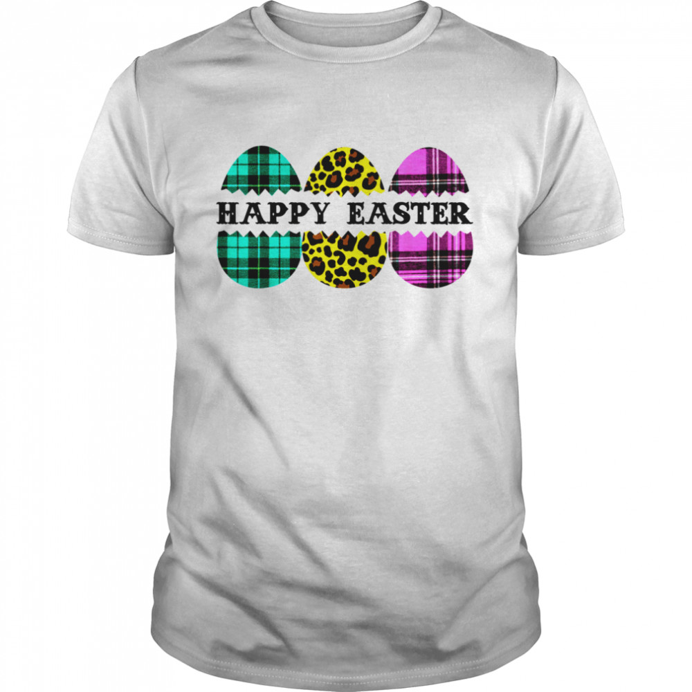 Happy Easter Plaid Leopard Cute Bunny Eggs shirt Classic Men's T-shirt