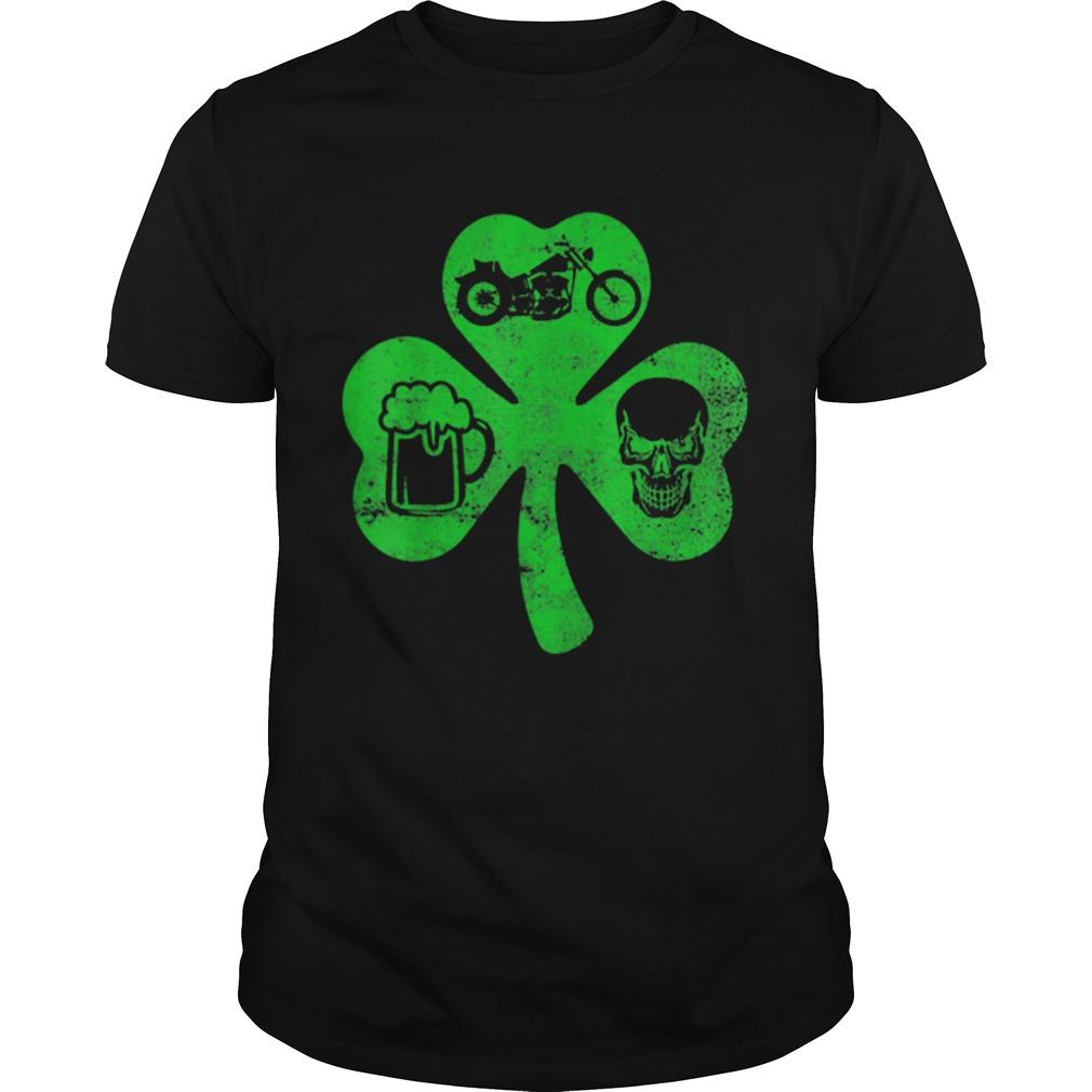 Motorcycle St Patricks Day Lucky Biker Beer Skull shirt Classic Men's