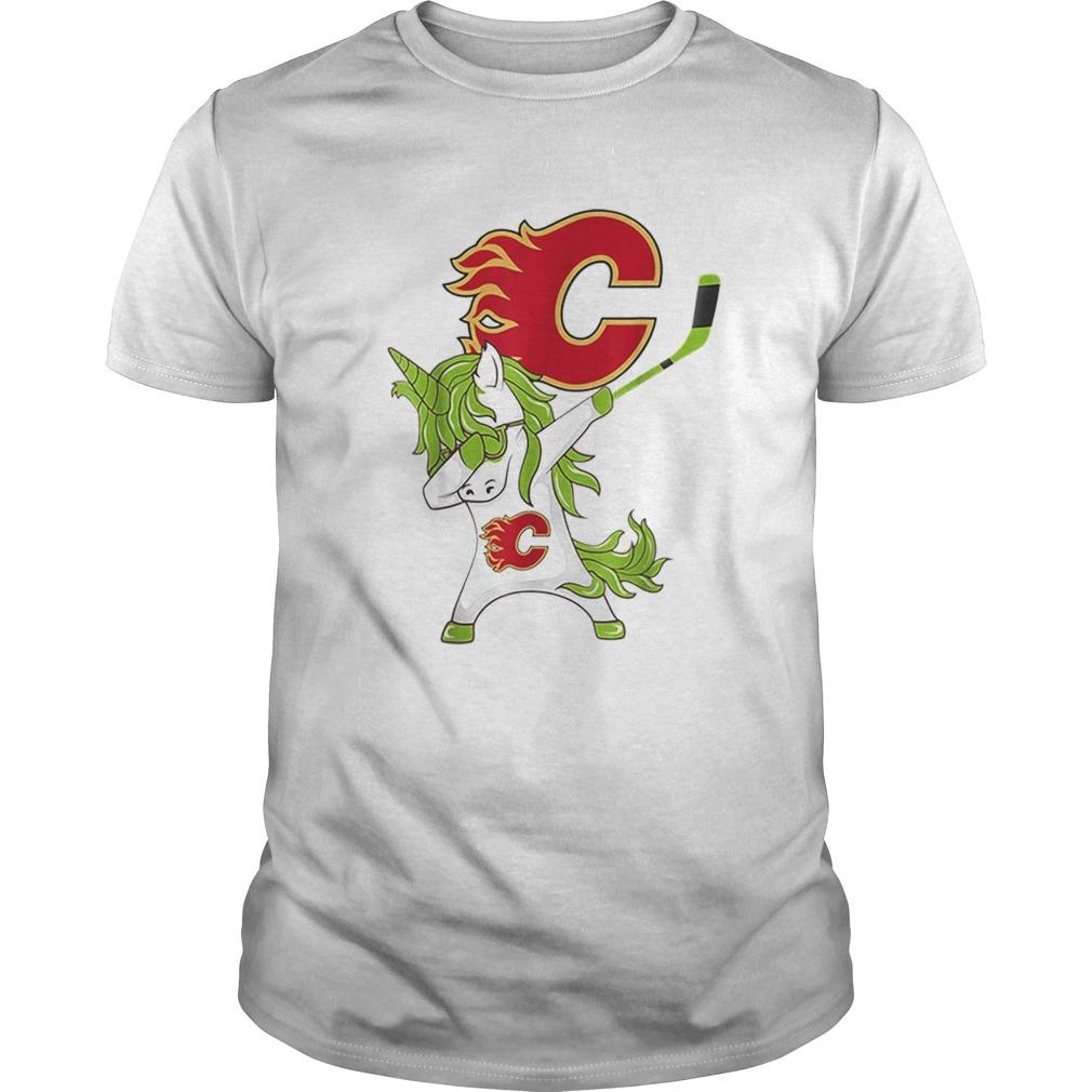 Pretty St Patrick Day Dabbing Unicorn Hockey Stick Calgaryflame shirt Classic Men's